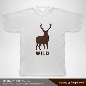 T-shirt with a wild deer silhouette