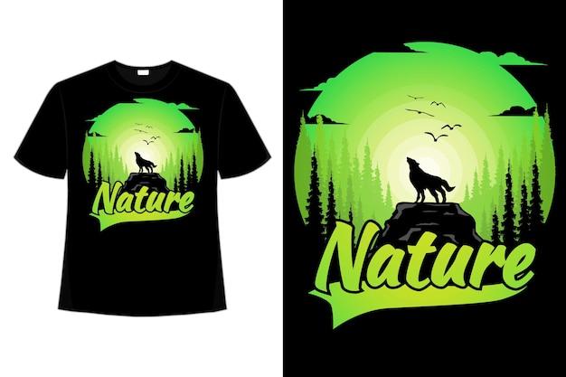 T-셔츠 늑대 소나무 자연 녹색 그라데이션 스타일 복고풍 빈티지 일러스트