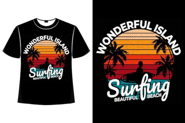Tシャツ素敵なアイランドサーフィンビーチサンセットレトロスタイル