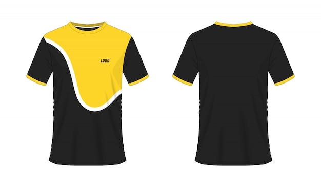 白い背景の上のチームクラブのtシャツの黄色と黒のサッカーまたはフットボールのテンプレート。