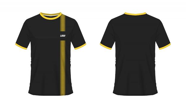 チームクラブのtシャツの黄色と黒のサッカーまたはフットボールのテンプレート。