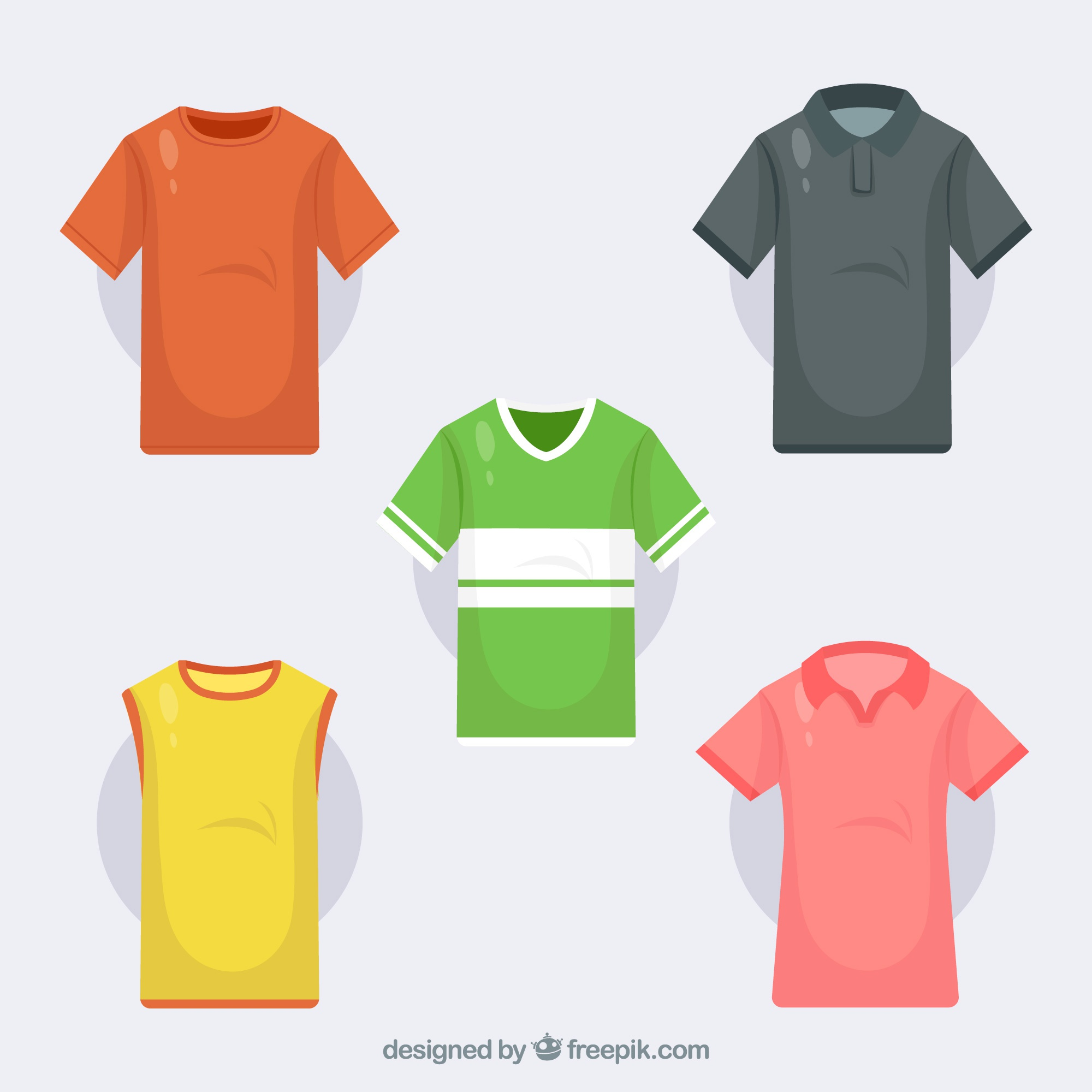 T-shirts collection in different colors