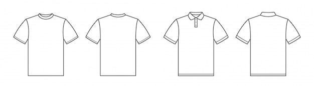 T-shirts. polo shirt. tshirt front and back view. outline style