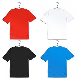 Tシャツセット。白い背景のイラスト。