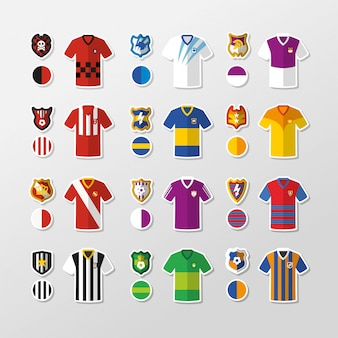 T-shirts and shields of fictitious football teams