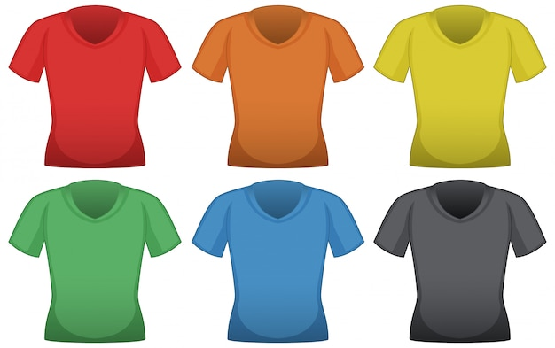 T-shirts in six different colors