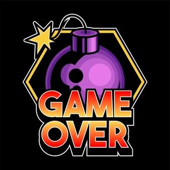 「ゲームオーバー」レタリングゲームデザインオタクゲーマープレーヤーの人々の流行のフレーズ。爆弾のモダンなカスタムロゴ印刷アイコン服tシャツtシャツ商品のイラスト