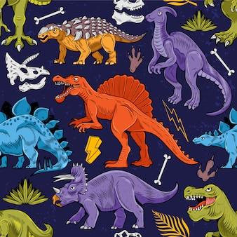 色付きのトカゲ恐竜恐竜とシームレスなパターン彫刻漫画カラフルなヴィンテージイラスト。トレンディなプリントデザインtシャツ服tシャツタイポグラフィ繊維ポスターのために描く子供