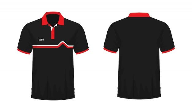 Tシャツポロ赤と黒のtイラスト