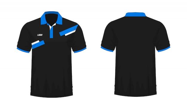 Tシャツポロ青と黒のtイラスト