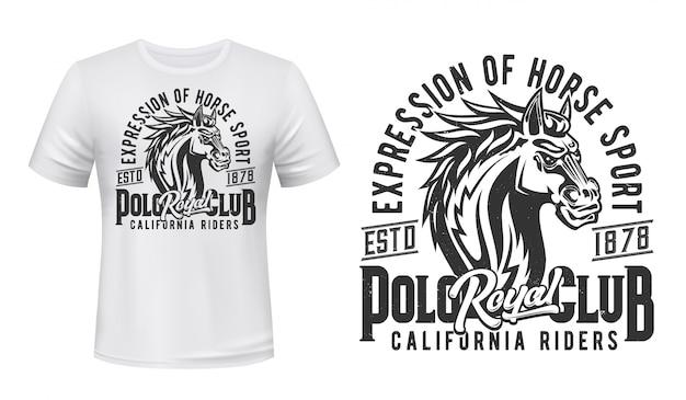 スタリオンtシャツ、乗馬スポーツプリント、競馬クラブ。野生の馬の種牡馬またはマスタング、馬の乗馬および競馬カリフォルニアライダーズロイヤルジョッキーポロクラブtシャツプリント