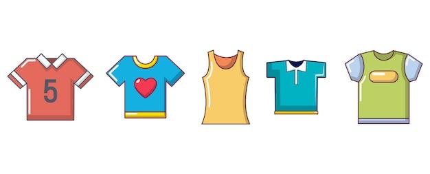 Tシャツのアイコンを設定します。分離されたtシャツベクトルアイコンコレクションの漫画セット