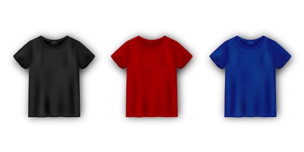 白い背景に分離されたメンズtシャツモックアップのセットです。ユニセックスtシャツテンプレート。