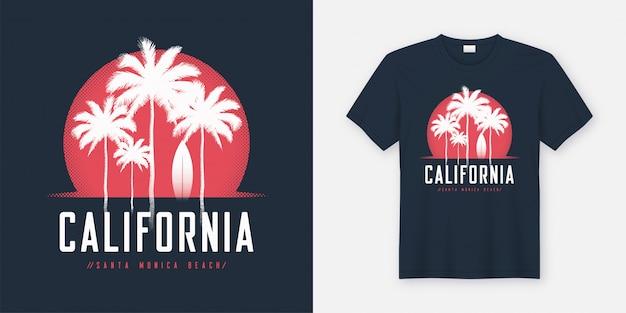 カリフォルニアサンタモニカビーチのtシャツとアパレルデザイン、typogr