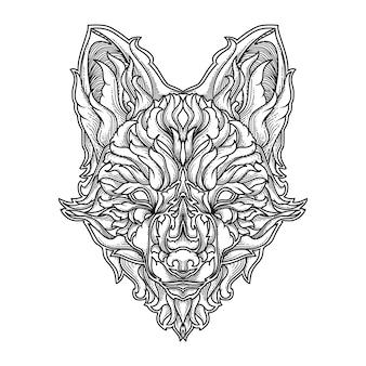 黒と白の手描きのタトゥーとtシャツデザインフォックス飾りプレミアムvetor