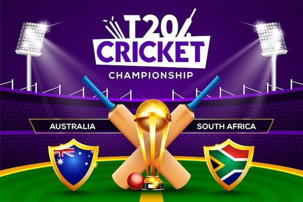 T20 크리켓 챔피언십 개념 호주 대 남아프리카 경기 헤더 또는 배너에는 크리켓 공, 배트, 우승 트로피가 경기장 배경에 있습니다.