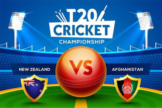 T20 크리켓 챔피언십 개념 뉴질랜드 대 아프가니스탄 경기 헤더 또는 경기장 배경에 크리켓 공이 있는 배너.