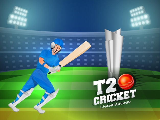T20 cricket championship concept with 3d silver winning trophy and batsman player on stadium background.