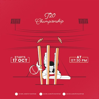 T20 cricket championship concept with run out batsman or non striker on red playground view.
