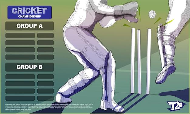 T20クリケットチャンピオンシップグループa&bリストとバッツマンプレーヤーのクローズアップイラスト。