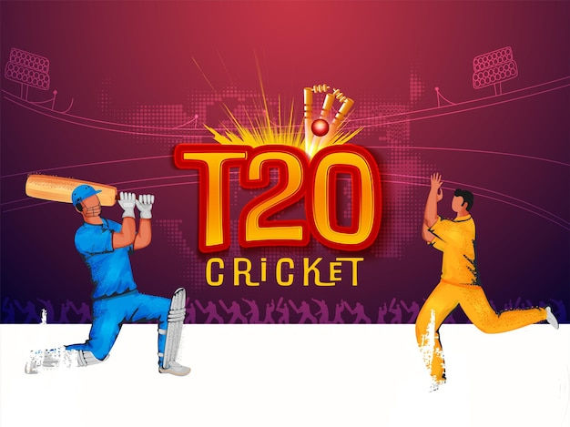 T20 cricket concept with faceless batsman, bowler in playing pose on abstract stadium view background.