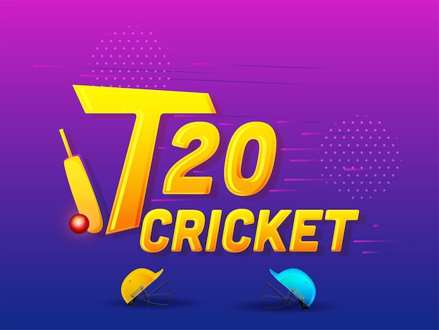 T20 cricket concept with two color helmet, bat, red ball on pink and blue gradient background.