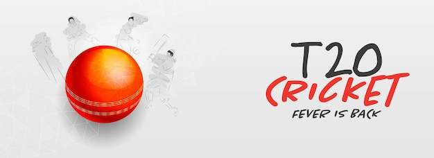 T20 cricket fever is back concept with 3d red ball and line art players on white background.