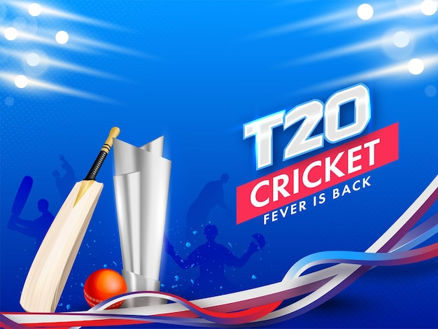 T20 cricket fever is back concept with 3d silver trophy award, bat, red ball and abstract waves on blue light effect background.