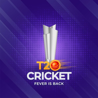 T20 cricket fever is back concept with 3d silver trophy award on purple halftone effect background.