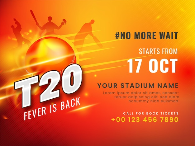 T20クリケットフィーバーは、赤い背景にゴールデンフレアエフェクトボールとシルエットプレーヤーを備えたバックコンセプトです。