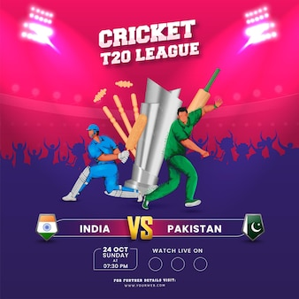 T20 cricket league concept with 3d silver trophy cup, participating team india vs pakistan flag shield on pink and purple background.