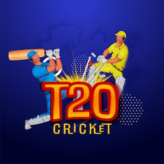 T20 cricket poster design with run out batsman and wicket keeper hit ball to stumps on blue halftone background.