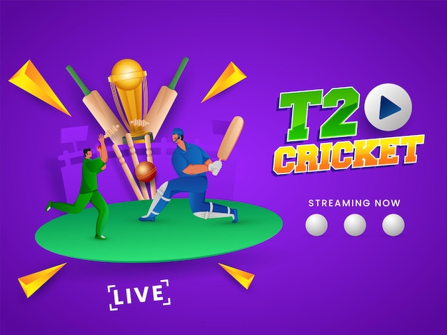 T20 cricket streaming now concept with cricketer players and 3d golden trophy cup on purple background.