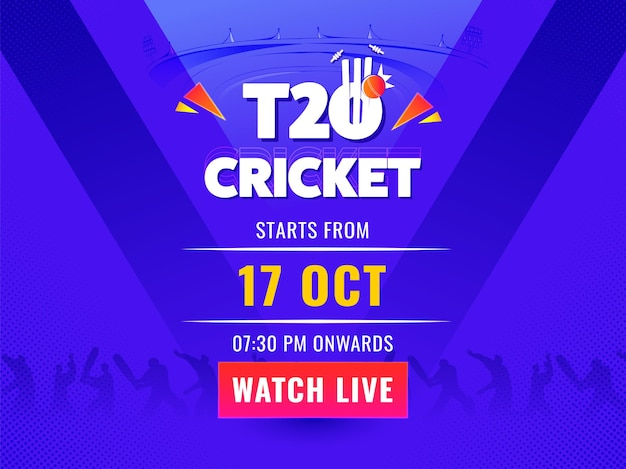 T20 cricket watch live poster design with silhouette cricketer players on violet background.