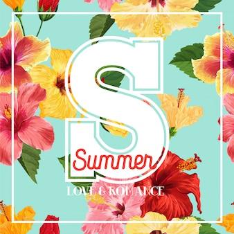 こんにちは夏のポスター。 tシャツの赤と黄色のハイビスカスの花の花柄のデザイン