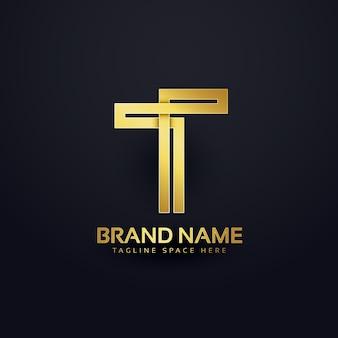 文字tのロゴコンセプトデザイン、プレミアムゴールデン