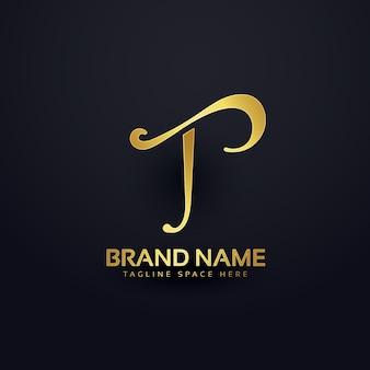 エレガントな文字tロゴデザインと渦巻き効果