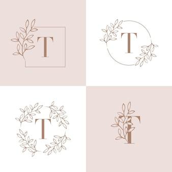 蘭の葉の要素を持つ文字tロゴデザイン