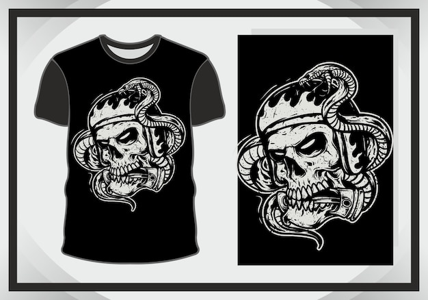 イラストとtシャツの頭蓋骨