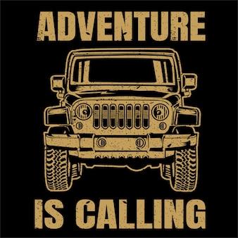 オフロード車のイラスト、ビンテージスタイル、ポスター、tシャツ、印刷製品を冒険します。