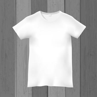 グレーの木製の白い空白のtシャツ