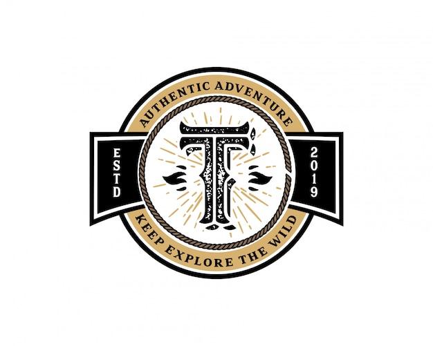 創造的な頭文字tレトロビンテージヒップスターとグランジベクトルのロゴの設計