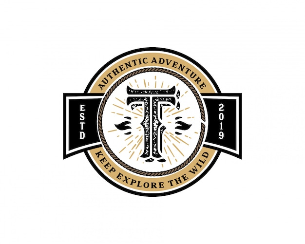 Креативная буквица t ретро винтаж хипстер и векторный гранж дизайн логотипа
