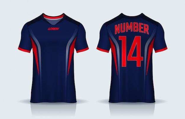 Tシャツスポーツデザインテンプレート、サッカークラブのサッカージャージーモックアップ。均一な正面図と背面図。