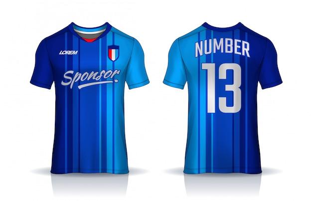 Tシャツスポーツデザインテンプレート、サッカークラブのサッカージャージー。均一な前面および背面図。