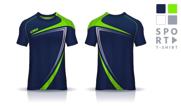 Tシャツスポーツデザインテンプレート、均一な前面と背面ビュー。