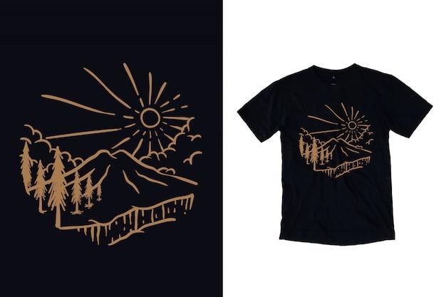 Tシャツデザインの松の木のイラストと山