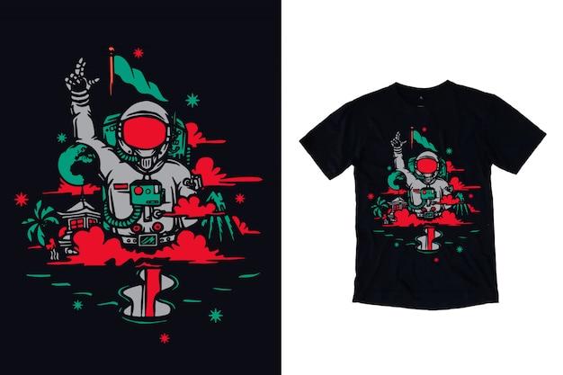Tシャツデザインの宇宙飛行士イラスト
