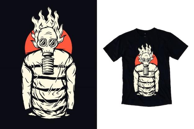 Tシャツのデザインの防毒マスクの図を持つ男