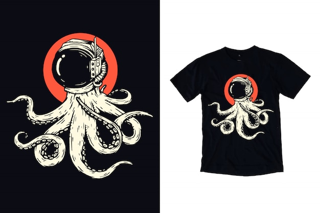 Tシャツデザインの宇宙飛行士ヘルメットイラストとタコ